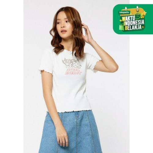 Foto Produk Colorbox Rib Crop Printed T-Shirt I:Tskkey120G017 Off White - Off White, M dari Colorbox Indonesia