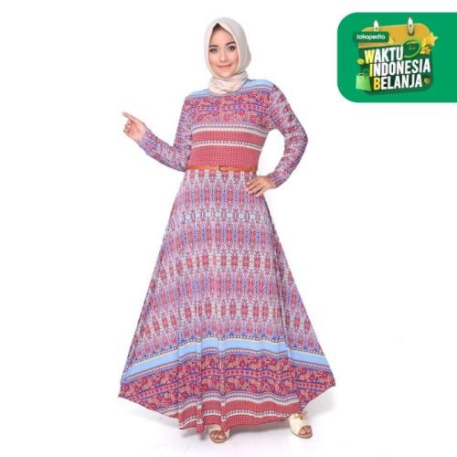 Foto Produk Long Dress Maxi Muslim Dewasa Corak bunga Model Terbaru - Shakira - Merah Salem dari j--fashion