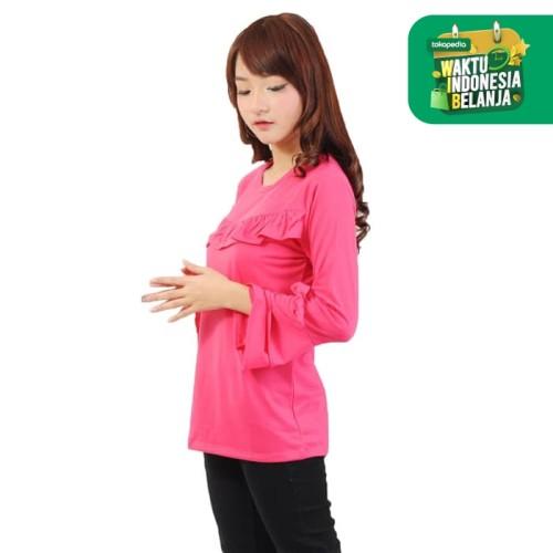 Foto Produk Baju Kaos Tshirt Tangan Panjang Wanita Model Terbaru - Jfashion Henny - Fuchsia dari j--fashion