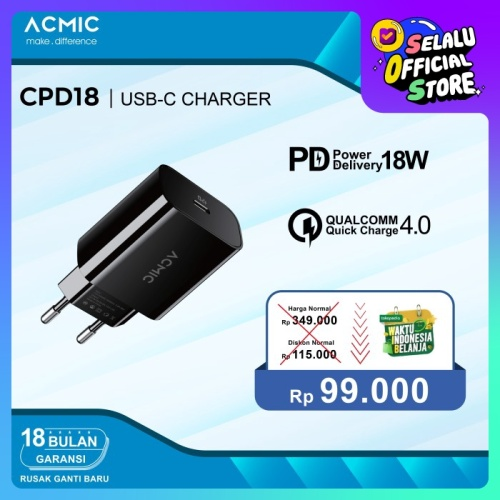 Foto Produk ACMIC CPD18 USB-C18W Power Adapter Charger Fast Charging Apple iPhone dari ACMIC Official Store