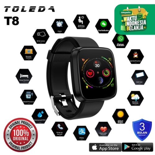 Foto Produk Toleda Smartwatch TLW T8 Original 100% Smartband - Hitam dari Toleda Indonesia