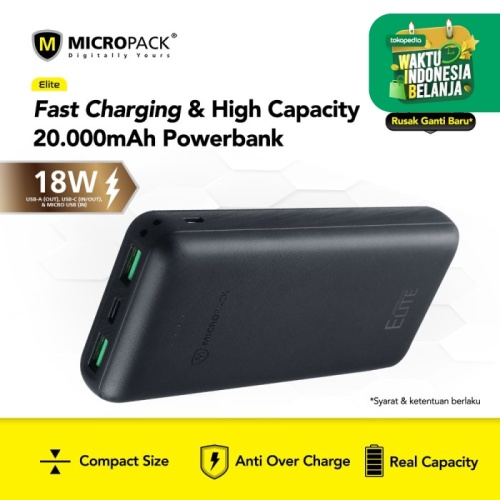 Foto Produk Micropack Power Bank 20000mAh Triple Output PD In & Out (PB-20K-PD) dari Micropack Official Store