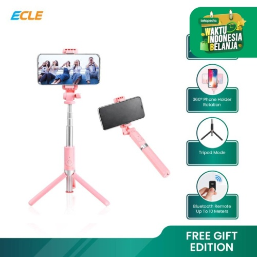 Foto Produk ECLE Selfie Stick Bluetooth Remote Tongsis / Tripod / Tomsis BSE1001 - Hitam dari ECLE Official Store