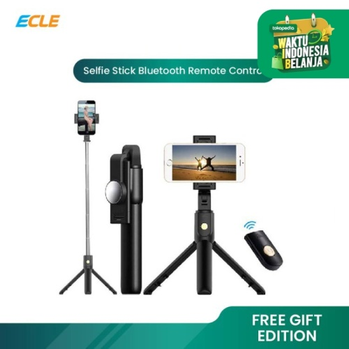 Foto Produk ECLE Selfie Stick Bluetooth Remote Tongsis / Tripod / Tomsis BSE1004 - Hitam dari ECLE Official Store