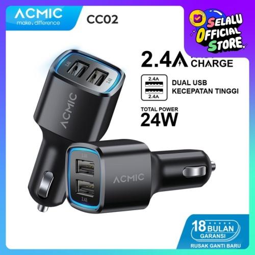 Foto Produk ACMIC CC02 Dual USB 2.4A Car Charger Fast Charging 24 Watt - Hitam dari ACMIC Official Store