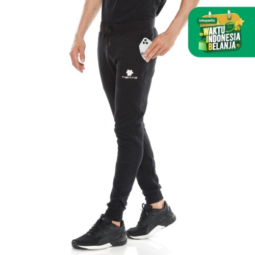 Foto Produk Tiento Celana Jogger Panjang Fleece Sporty Black Men - S dari TIENTO