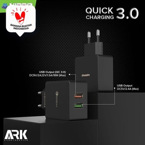 Foto Produk Hippo Ark 2 Adaptor Charger Quick Charge 3.0 TOTAL 30 W dari Hippo Official Store