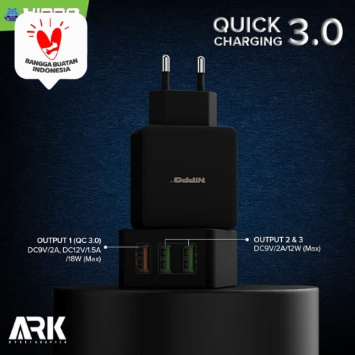 Foto Produk Hippo Ark 3 Adaptor Charger Quick Charge 3.0 TOTAL 30 W 3 port USB dari Hippo Official Store