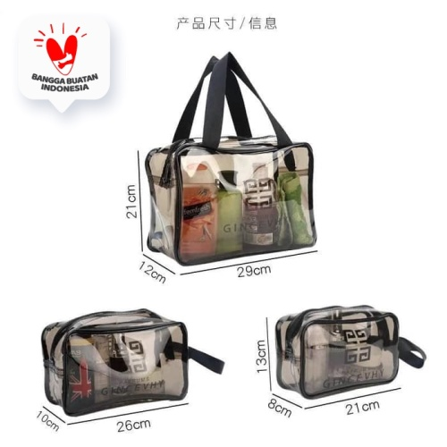 Foto Produk Tas Kosmetik Portable Model Transparan Bahan Plastik untuk Travel - 26x15x10 dari SUNXIN
