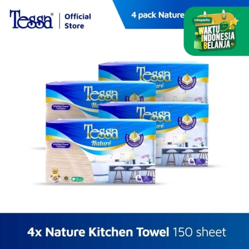 Foto Produk Tissue Tessa - 4 pack Nature Kitchen Towel Interfold 150s Unbleach dari Tissue Tessa