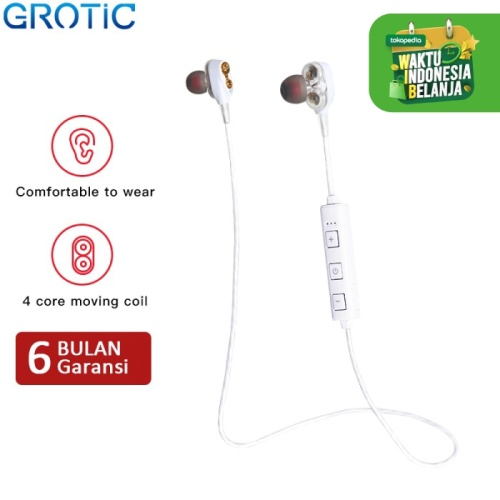 Foto Produk Headset Bluetooth GROTIC XT21 Dual Dynamic Driver DJ Wireless Earphone - Putih dari APRoo