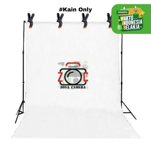 Foto Produk Background Polos Kain Foto Putih 3 x 2.5m dari zona camera