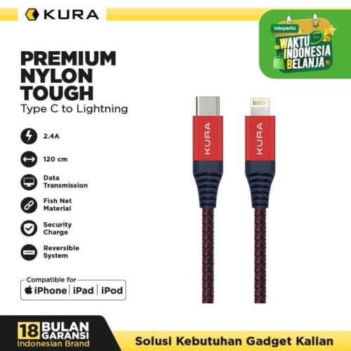 Foto Produk KURA Premium Nylon Tough Cable - Kabel Data USB Type C to Lightning dari KURA Elektronik