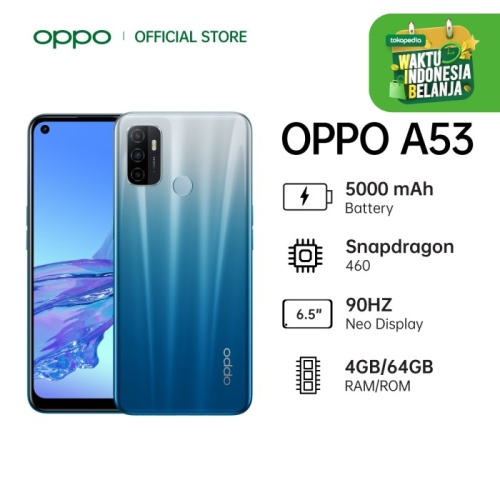 Foto Produk OPPO A53 Smartphone 4GB/64GB (Garansi Resmi) - Biru dari OPPO OFFICIAL STORE