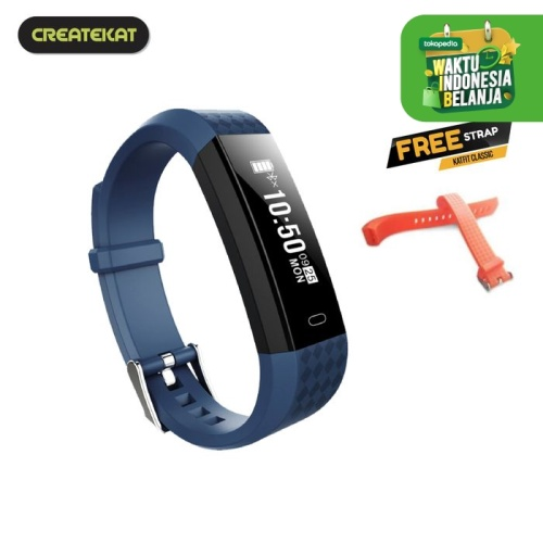 Foto Produk Createkat Smart Band Heart Rate Monitor Smartwatch Gelang Pintar - Biru dari CreateKat
