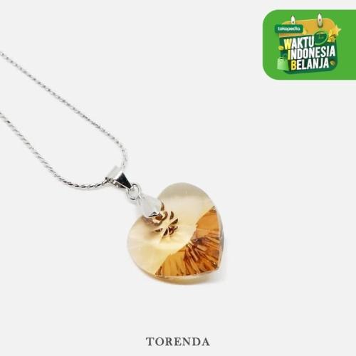 Foto Produk Torenda Kalung Liontin Love Pendant with Swarovski - Emas (LtColTop) dari TORENDA