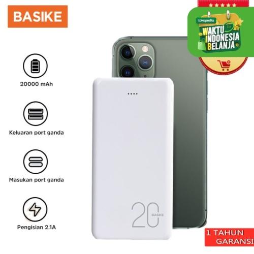 Foto Produk BASIKE Power Bank 20000mAh Dual USB Fast Murah Mini for Iphone Android - PT63 - 2 inputs dari Basike Official Store