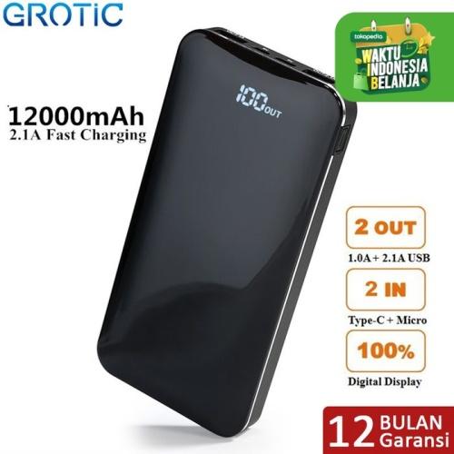 Foto Produk GROTIC Powerbank 12000mAh 2.1A Fast Charge Dual USB LED Power Display - Hitam dari APRoo