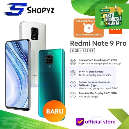 Foto Produk XIAOMI REDMI NOTE 9 PRO NFC - 8GB 128GB 8/128 -SNAPDRAGON 720G - RESMI - Glacier White dari Shopyz ID