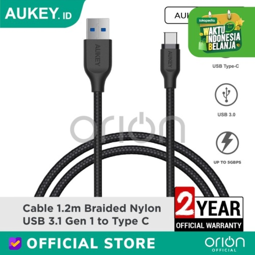 Foto Produk AUKEY Kabel Data Type C CB-AC1 Braided Charger Fast Charging 3A USB3.1 - 1.2M dari ORION Official