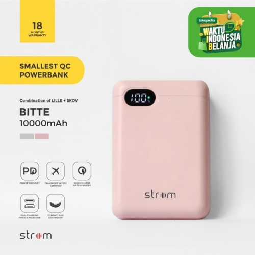 Foto Produk Strom Bitte Smallest QC PD Power Bank 10000mAh Real Capacity - Merah Muda dari Strom Indonesia