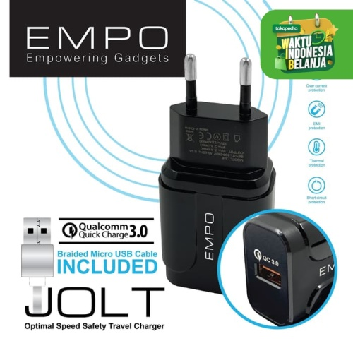Foto Produk EMPO JOLT Wall Charger 1 Port Quick Charge 3.0 – Black dari EMPO