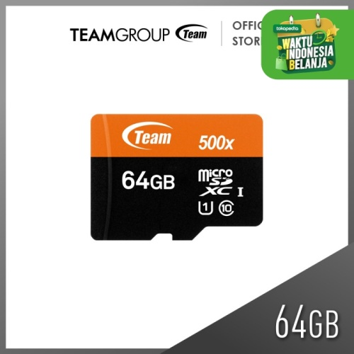 Foto Produk TEAMGROUP MicroSD 64GB UHS-1 + Adapter Speed 500x dari Teamgroup Official Store