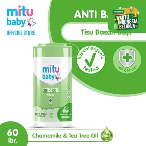 Foto Produk Mitu Baby Wipes Antiseptic Oval [Bottle 60'S] dari Mitu Indonesia