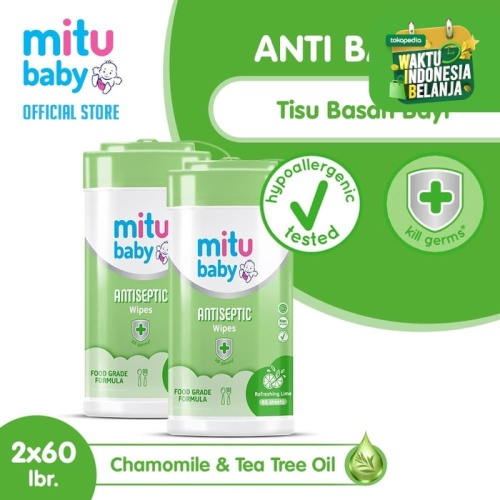 Foto Produk Mitu Baby Wipes Antiseptic Oval Bottle 60S - 2pcs dari Mitu Indonesia