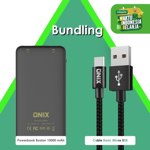 Foto Produk Bundling - Powerbank Boston 10.000 MAH + Basic Micro Cable dari Onix Gadget Official