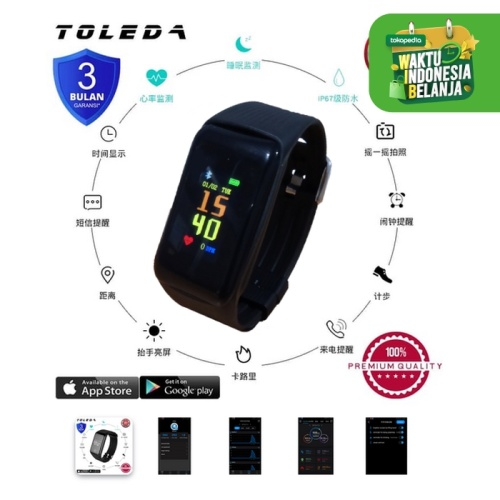 Foto Produk TOLEDA Smartband TLW B3 Original 100% Smartwatch - Merah dari Toleda Indonesia