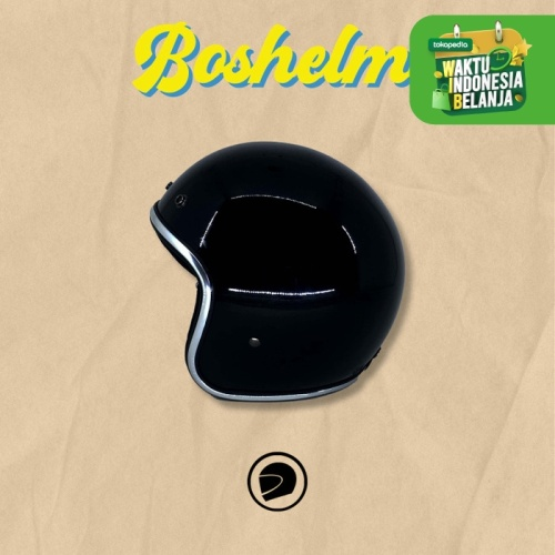 Foto Produk Helm Retro List Chrome Hitam Helm Basic List Chrome Helm Half - Hitam Glossy dari BOSHELM