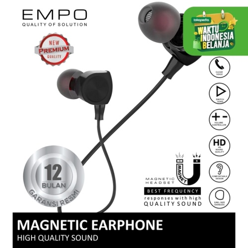 Foto Produk EMPO Cord Magnetic Earphone Noise Cancelling / Headset / Handsfree dari EMPO