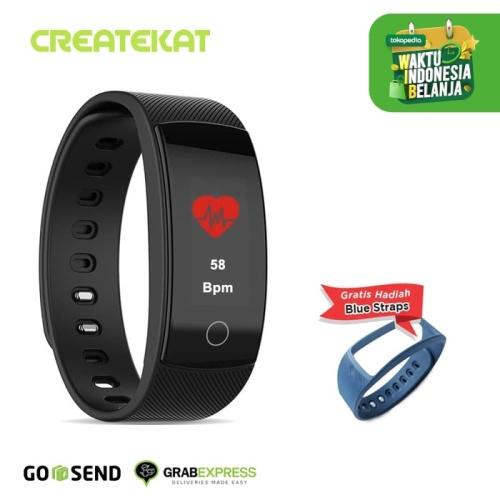 Foto Produk Createkat Smart Band Pemantau Denyut Jantung Smartwatch Hitam Katfit1 - Hitam dari CreateKat