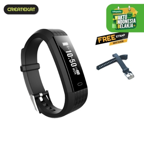 Foto Produk Createkat Smart Band Peringatan Panggilan dan SMS Smartwatch - Hitam dari CreateKat