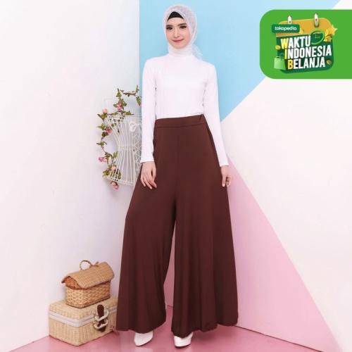 Foto Produk Celana Kulot Panjang Wanita Jersey Murah Muslim 6942 - Maroon dari Hitjab & Co