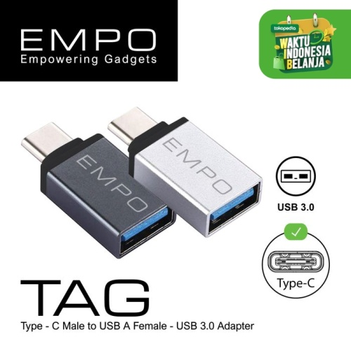 Foto Produk EMPO TAG OTG USB 3.0 to Type - C Konektor Kabel Sambungan Silver dari EMPO