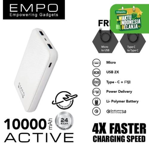 Foto Produk EMPO 10000mAh Power Bank Quick Charge 3.0 + Power Delivery (PUTIH) dari EMPO