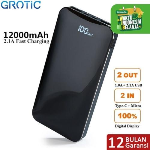 Foto Produk GROTIC Powerbank 12000mAh 2.1A Fast Charge Dual USB LED Power Display - Biru dari APRoo
