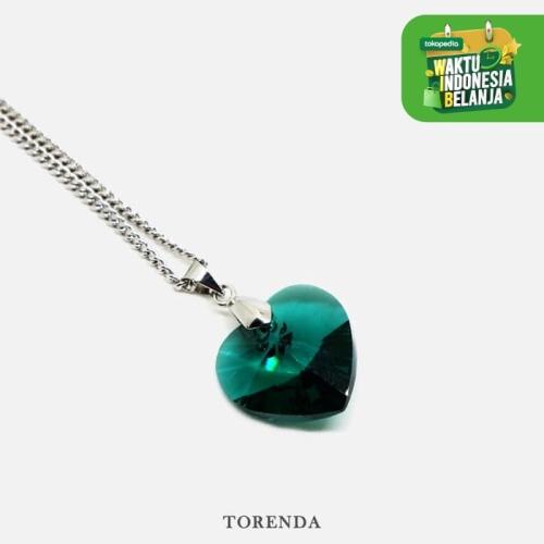 Foto Produk Torenda Kalung Liontin Love Pendant with Swarovski - Hijau (Emerald) dari TORENDA