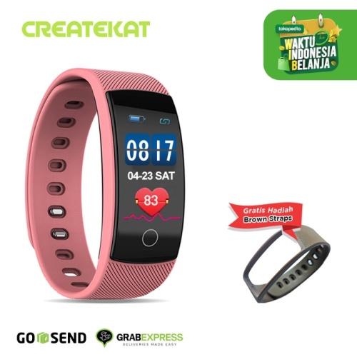 Foto Produk Createkat Smartwatch Heart Rate Monitor Smart Band Gelang Pintar - Merah Muda dari CreateKat