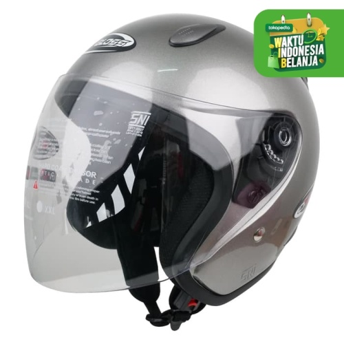Foto Produk Helm Half Face YCN CR Cargloss Visor Hardcoat - Silver Met Glossy - L dari Helm Cargloss