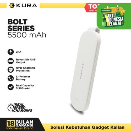 Foto Produk KURA Powerbank Bolt 5500 mAh - Putih dari KURA Elektronik