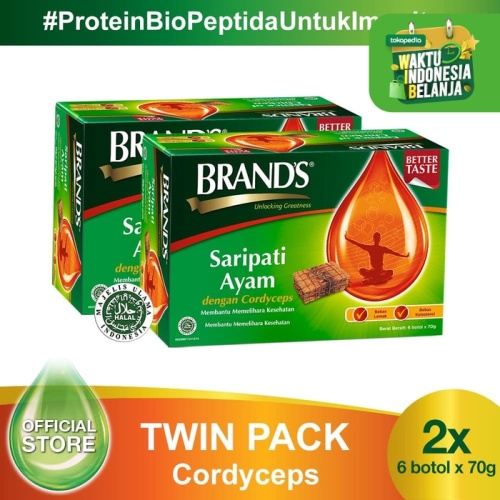 Foto Produk Twin Pack BRAND'S Saripati Ayam dengan Cordyceps 70 Gr (12 botol) dari Brand's Official