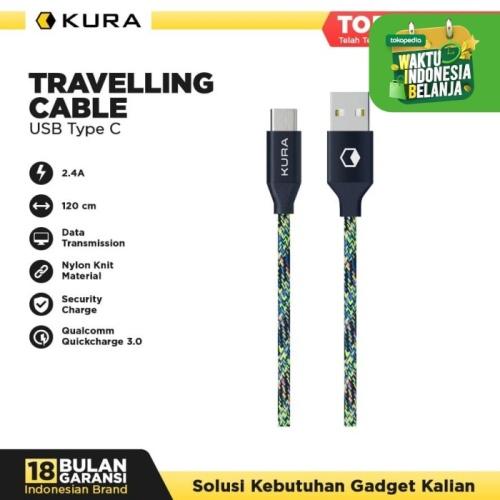 Foto Produk KURA Travelling Cable ( Tube ) - Kabel Data USB Type C - Biru dari KURA Elektronik