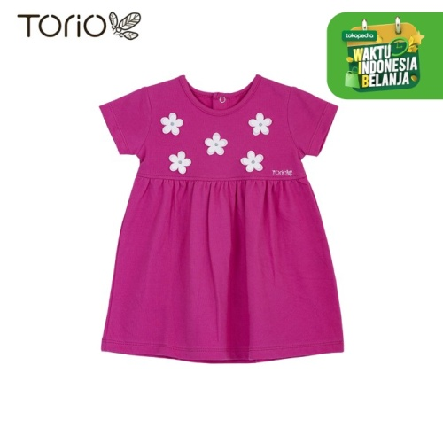 Foto Produk TORIO Dress Bayi Perempuan Flower Dress In Jasmine Fruschia - 9-12 bulan dari Torio