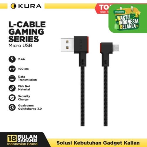 Foto Produk KURA L Cable ( Gaming Series ) - Kabel Data Micro USB - Hitam dari KURA Elektronik