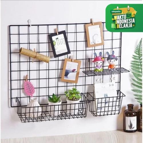 Foto Produk GUNICO -PAKET HIJANG- Wire Grid Wall [FREE BUBBLE WRAP] - P.HIJANGLENGKAP, Hitam dari DIAMOND HOME LIVING