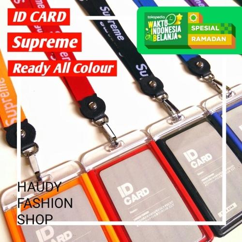 Foto Produk NAME TAG KULIT PU / ID CARD HOLDER SUPREME / GANTUNGAN NAMA - Biru dari Haudy Shop