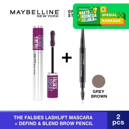Foto Produk Maybelline The Falsies Lash Lift Very Black Mascara + Eyebrow Pencil - Grey Brown dari Maybelline Official Shop
